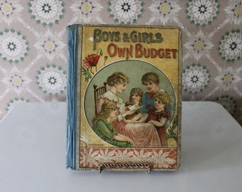 Antique Children's Book, Boys' and Girls' Own Budget, Published 1899, Victorian Children's Book, Stories, Poems, Illustrations, Clown