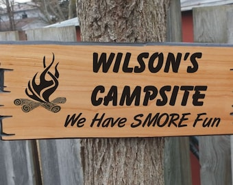 Campsite version of Custom Wooden Sign, wood cabin sign, wooden carved sign rustic wooden style choice of graphics & fonts