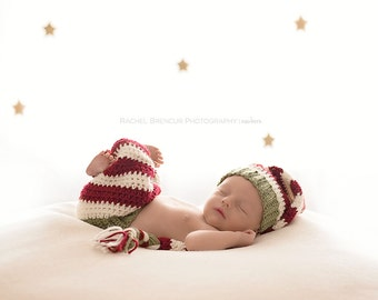 Christmas Elf Set - red and green set - newborn christmas photography prop - christmas photography prop