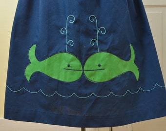 Navy BLUE novelty APPLIQUÉ whales vintage skirt with green belt // a-line cut with elastic waist