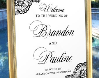 Welcome Wedding Sign Elegance Lace Classic Traditional Wedding poster wedding decor print art wedding welcome Wedding decoration WS013