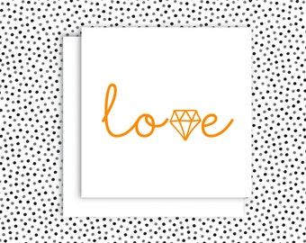 Love - Fluro Pink or Orange Screenprint Greeting Card 135 x 135mm with envelope