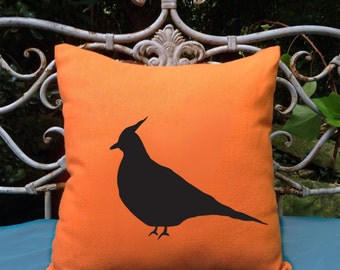 Australian Crested Pigeon Dove Orange  Cotton Cushion Cover