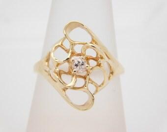 0.15 Carat Ladies Diamond Solitaire 14K Yellow Gold Ring