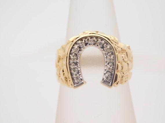 0 20 Carat T W Round Cut Diamond Horseshoe Ring 10K Yellow