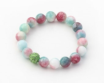Multi Color 10mm Round Watermelon Chalcedony and Rhinestone Beaded Stretch Bracelet