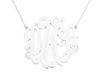 "Mono13A - 1.75"" Sterling Silver Monogram Necklace"