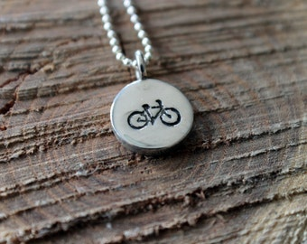 Sterling Silver Cyclist Necklace - Hand Stamped Bike Charm, Bike Pendant, Cyclist Jewelry, Travel Charm, Good Luck Charm, Gift for Her