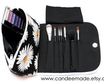 Dandy Daisy Makeup Bag with a Brush Holder and Magnetic Button.