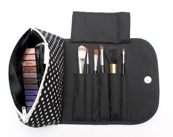 Bold Black Spotty Large Makeup Bag with a Brush Holder and Magnetic Button!