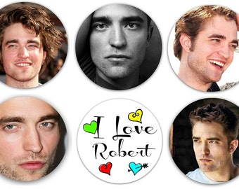 "Set of 6 Robert Pattinson 1.25"" Pinback Buttons, Flat Backs or Magnets"