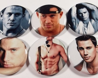 "Set of 6 Channing Tatum 1.25"" Pinback Buttons, Flat Backs or Magnets Shirtless"