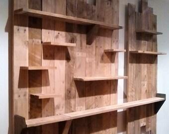 Large pallet wood wall display unit