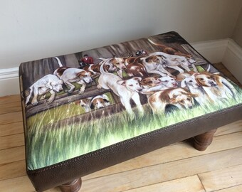 Horse And Hounds Hunting Scene From Original Pastel Painting Footstool By Artist Grace Scott