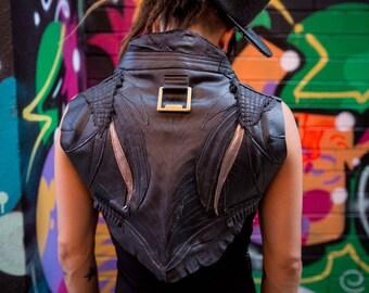 Black and Iridescent Gunmetal Winged Leather Bolero Ladies Vest