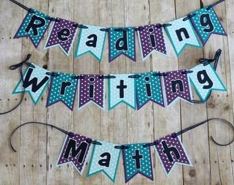 Teacher Banner • Math Reading Writing • Polka Dotted Classroom Decor • Classroom Centers Sign •  Bulletin Board•  Reading + Writing Sign •