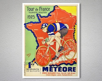 Meteore Tour de France, 1925  Vintage Bicycle Poster - Poster Paper, Sticker or Canvas Print