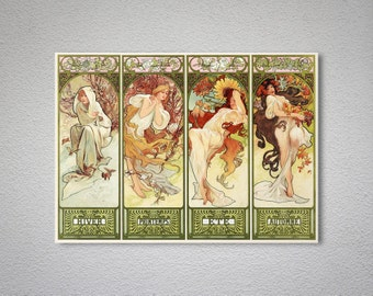 Seasons by Alphonse Mucha - Poster Print, Sticker or Canvas Print / Gift Idea