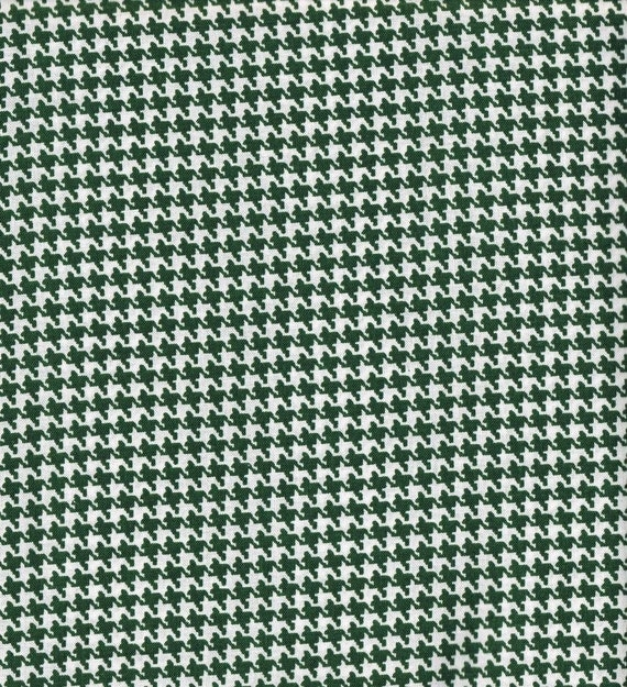 Hunter Green Houndstooth Fabric, Cotton Fabric, Fabric By