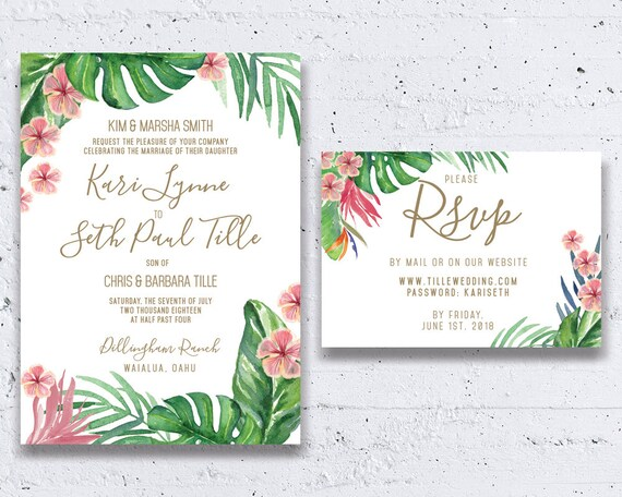 Beach Themed Wedding Invitations Templates: Tropical Wedding Invitation Beach Wedding By HeartwoodPaperie