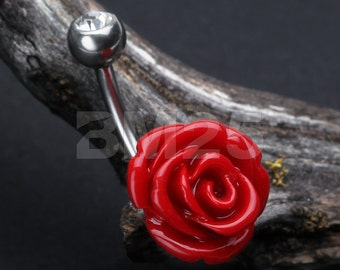 Dainty Blossom Red Rose Belly Button Ring