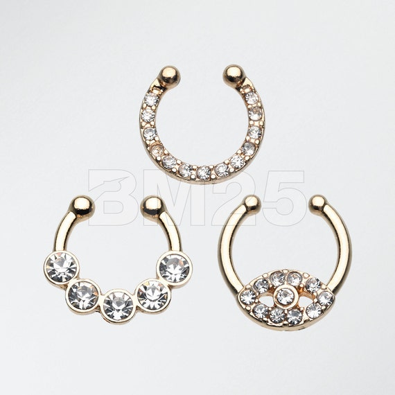 3 Pcs of Golden Sparkle Fake Septum Value Pack