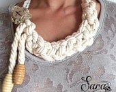Nautical necklace, Cotton rope necklace, Braided necklace, Knoted jewelry, Ecofriendly jewelry, Textile necklace, Beige necklace, Fabric