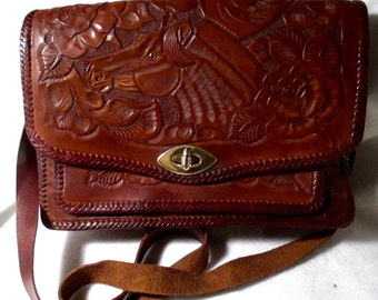Vintage Western Hand Tooled Handbag With A Floral and Horse Portrait.