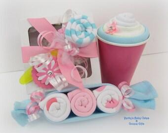 Washcloth Gift, Baby Girl Gift, New Baby Shower Gift, Onesie Cupcake, New Baby Gift, New Mommy Gift, Pregnancy Gift, Hospital Gift, Cupcake