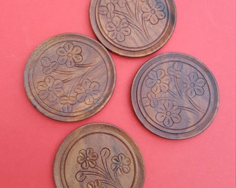 SALE 25% OFF Wooden Circles Embossed with Flowers/ Decorative Wood