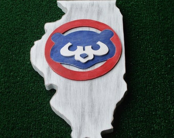 Custom Chicago Cubs Illinois State 3D Hand Scrolled Wood Logo Wall Art