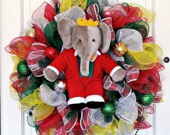 Babar the Elephant Wreath, Gray Elephant Wreath, Elephant Decor