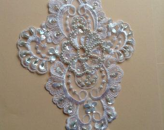 beaded lace applique, lace motif, beaded lace, sequins,wedding lace applique