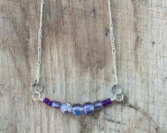"""Simple Purple Bead Necklace 19"""""""