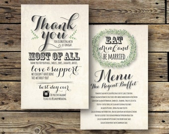 Printable Wedding Thank You/Dinner Menu - The Lauren Collection
