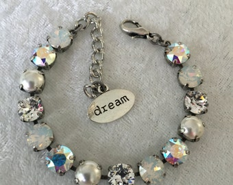 8mm crystal, Pearl, and white Opal crystal bracelet, supporting cancer awareness- necklace and earrings available