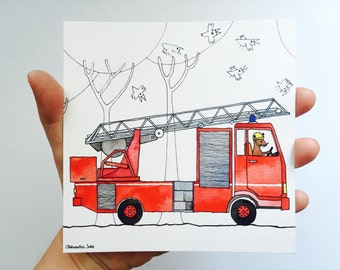 Postcard firefighters