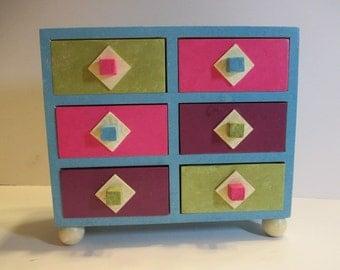 Sale! Bright Geometric Jewelry Box, Painted Jewelry Box, Trinket Box