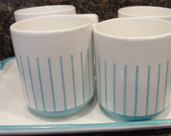 Vintage Set of Four Mugs and Tray