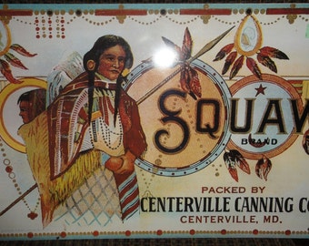 Vintage Reproduction Squaw Brand Metal Sign/Made in USA