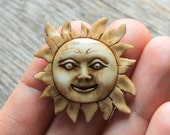 Smiling Sun - Natural, Hand Carved Bone Cabochon, Sunshine, Happy, Joyful Jewelry, Smile Laugh Cheer Pendant, Bead, Accessories and Gifts