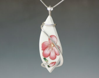 Pink Flower Vintage Ceramic/ Dinnerware Cold Forged Sterling Silver Pendant
