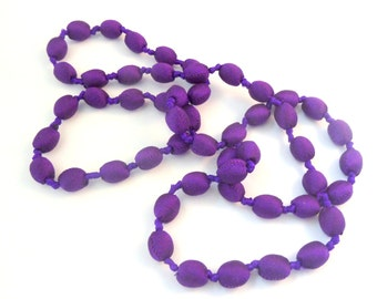 SORRY NOW SOLD Vintage Long Hand Knotted Purple Fabric Bead Necklace.