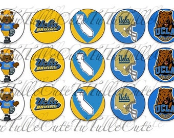 University of California Los Angeles Inspired Bottle Cap Images College Football Bruins Inspired Instant Download