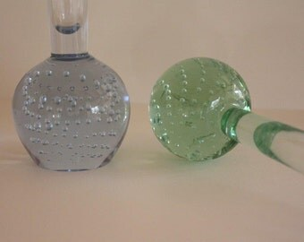 Vintage Controlled Bubble Glass Vases ~ Mid-Century ~ Blue and Green ~ buy one or both