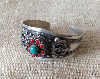 Turquoise Coral Tibetan Silver Cuff Bracelet