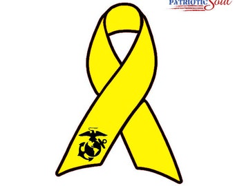 Support the Troops Marines USMC Ribbon Vinyl Window Decal - FREE Shipping - yellow ribbon - awareness - milso