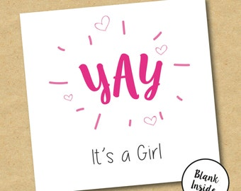 New Baby Girl Card - Yay It's a Girl - can be personalised