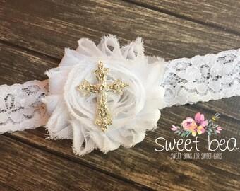 Baptism White Lace with Rhinestone Cross