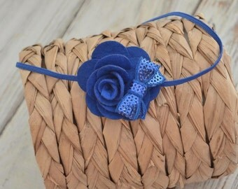 Blue Felt Rose Headband